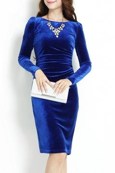 Blue Elegant Sexy Ladies Long Sleeves Slim Pleuche Midi Dress