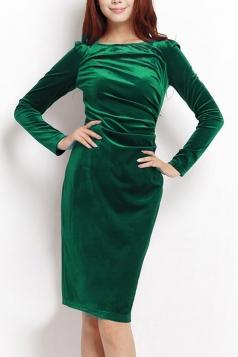 Green Elegant Sexy Ladies Long Sleeves Slim Pleuche Midi Dress