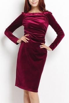 Ruby Elegant Sexy Ladies Long Sleeves Slim Pleuche Midi Dress