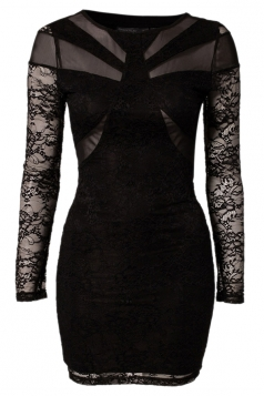 Black Backless Sexy Long Sleeves Lace Vintage Bodycon Dress