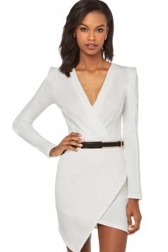 White Womens V Neck Long Sleeve Asymmetric Elegant Dress