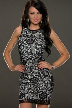 Black Sexy Ladies Vintage Lace Sleeveless Zipper Slim Tank Dress