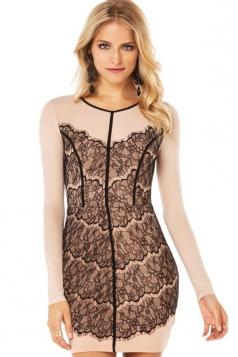 Khaki Long Sleeves Lace Patchwork Elegant Zipper Womens Dress