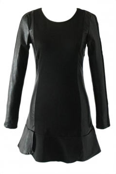 Black Cool Womens Patchwork Long Sleeve Ruffle Velvet Leather Dress