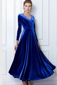 Blue Ladies Sexy V Neck Long Sleeves Pleuche Vintage Evening Dress