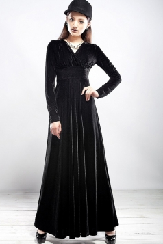 Black Ladies Sexy V Neck Long Sleeves Pleuche Vintage Evening Dress