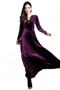 Purple Ladies Sexy V Neck Long Sleeves Pleuche Vintage Evening Dress