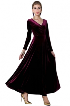 Ruby Ladies Sexy V Neck Long Sleeves Pleuche Vintage Evening Dress