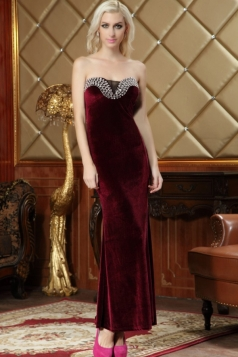 Ruby Sexy Ladies Slit Beaded Pleuche Maxi Evening Tube Dress