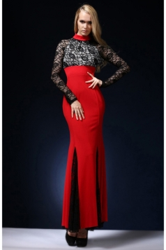 Red Fancy Womens Sexy Lace Patchwork Mermaid Backless Evening Dress
