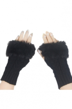 Black Sexy Ladies Long Fingerless Winter Cute Gloves
