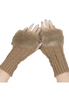 Khaki Sexy Ladies Long Fingerless Winter Cute Gloves