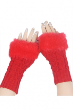 Red Sexy Ladies Long Fingerless Winter Cute Gloves