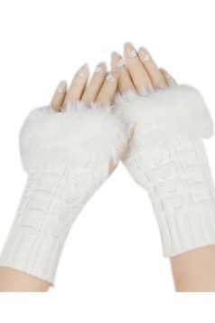 White Sexy Ladies Long Fingerless Winter Cute Gloves
