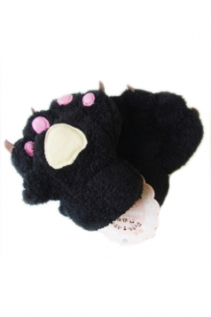 Black Cute Ladies Capped Cat Bear Paw Winter Gloves