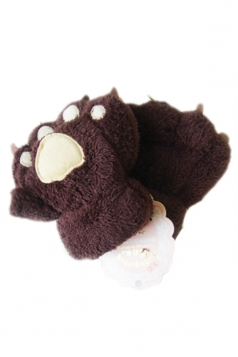 Brown Cute Ladies Capped Cat Bear Paw Winter Gloves