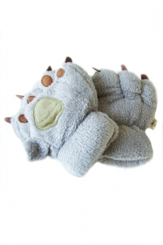 Gray Cute Ladies Capped Cat Bear Paw Winter Gloves