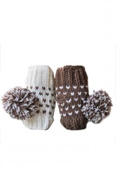 Khaki Pretty Womens Capped Wool Ball Warm Winter Gloves