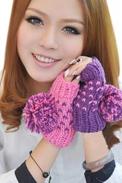 Purple Pretty Womens Capped Wool Ball Warm Winter Gloves