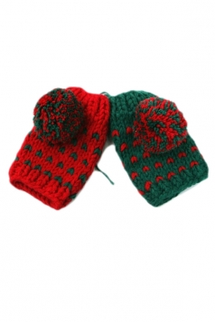 Red Pretty Womens Capped Wool Ball Warm Winter Gloves