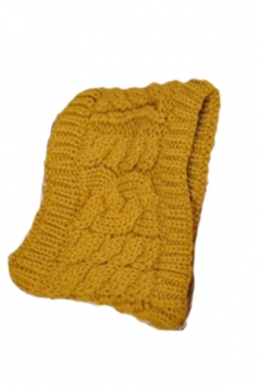 Yellow Ladies Beanie Fashion Headband Knitted Hat