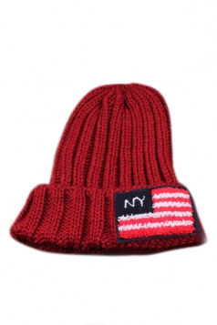 Ruby Ladies Cool Flag Stitched Knitted Warm Hat