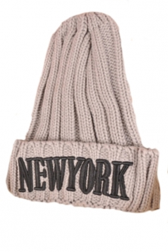 Gray Stylish Womens Alphabet Patterned Winter Knitted Hat
