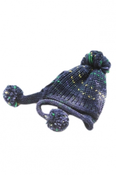 Navy Blue Ladies Cute Woolen Yarn Earflap Warm Knitted Hat