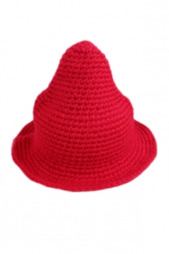 Red Womens Trendy Peaked Bucket Knitted Hat