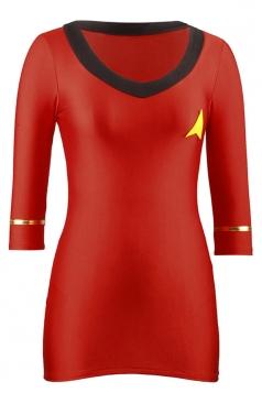 Red Halloween Ladies Airline Stewardess Womens Costume