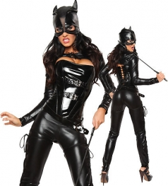 Womens Sexy Masked Faux Leather Halloween Cat Costume Black