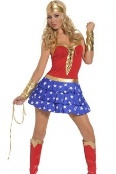 Red Sexy Superhero Halloween Wonder Woman Costume