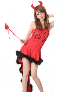 Red Attractive Ladies Halloween Cosplay Demon Dress Devil Costume