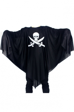 Black Wild Ladies Cloak Halloween Skull Printed Death Pirate Costume