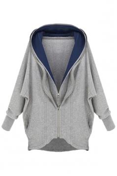 Gray Comfortable Ladies Cotton Cardigan Plain Hoody