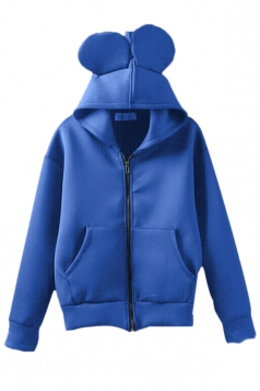 Blue Womens Cute  Zipper Hoodie Long Sleeves Coat