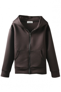 Brown Womens Cute Zipper Hoodie Long Sleeves Coat
