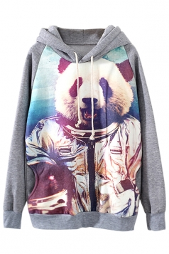 Gray Cool Ladies Panda Motorcyclist Pullover Printed Hoody