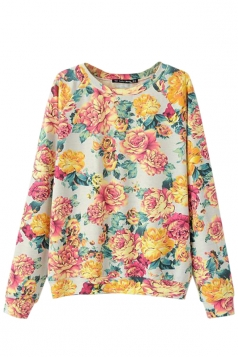 Yellow Pretty Ladies Flower Crew Neck Pullover Printed Sweatshirt
