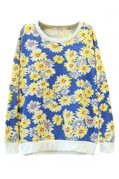 Blue Sexy Ladies Flower Pullover Cotton Printed Sweatshirt