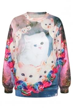 Rose Red Womens Crew Neck Rose Cat Pullover Printed Sweatshirt