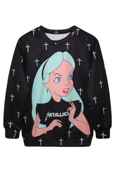 Ladies Crew Neck Alice in Wonderland Printed Pullover Sweatshirt