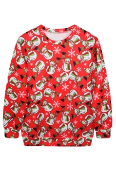 Womens Snowman Printed Ugly Christmas Crew Neck Pullover Sweatshirt