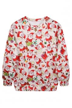 Womens Crew Neck Santa Printed Ugly Christmas Pullover Sweatshirt