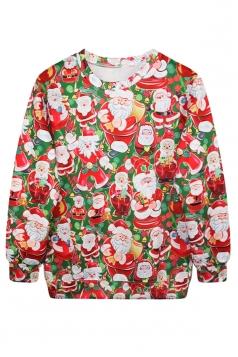 Womens Crew Neck Santa Printed Pullover Ugly Christmas Sweatshirt Red