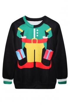 Womens Clown Printed Pullover Ugly Christmas Crew Neck Sweatshirt