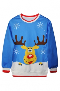 Ladies Ugly Christmas Reindeer Printed Crew Neck Pullover Sweatshirt