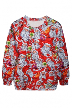 Ladies Ugly Christmas Crew Neck Santa Printed Pullover Sweatshirt