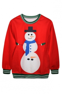 Ladies Snowman Printed Crew Neck Ugly Christmas Pullover Sweatshirt