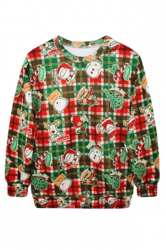 Womens Ugly Christmas Santa Printed Crew Neck Pullover Sweatshirt